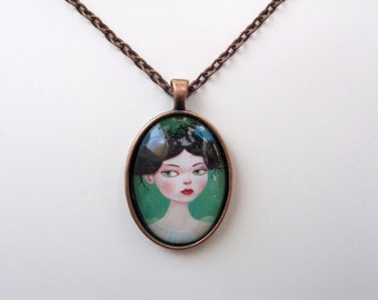 Gwen with Birds Painting - mini print necklace pendant and chain copper