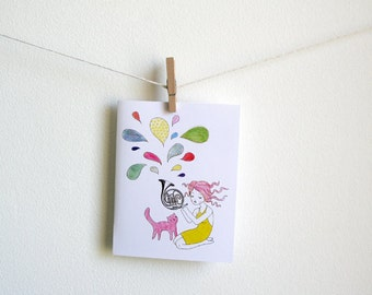 Let's Make Music - girl and cat - Greeting Card - blank inside with matching envelope