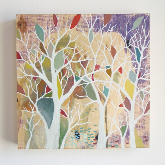 Hidden by trees - Original acrylic painting on wood