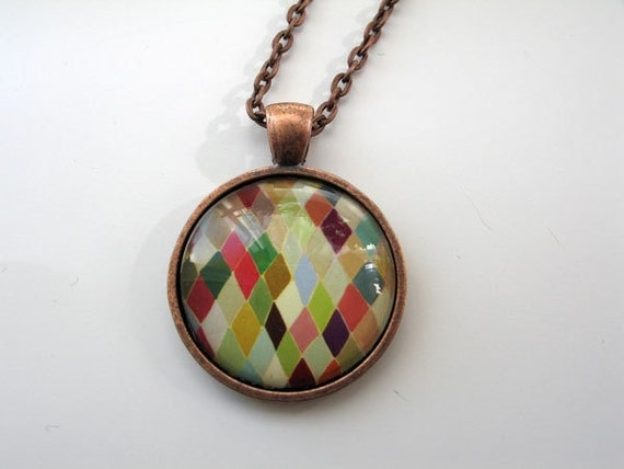 Colorful Diamonds - mini print necklace pendant and chain