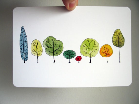 Row Trees Art Postcard - from original watercolor painting