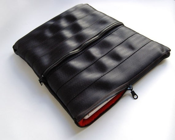 Laptop Armor - Zipper-Ended Laptop Sleeve with Extra Pocket- Upcycled from Seatbelts