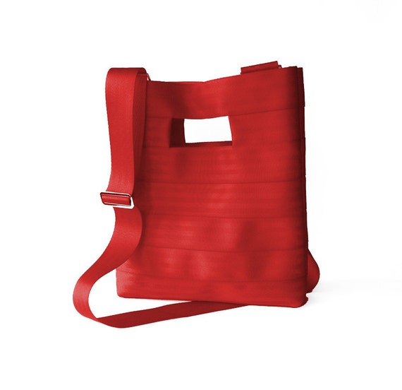The Hyphen PLUS in Red - Red Seatbelt Clutch Purse