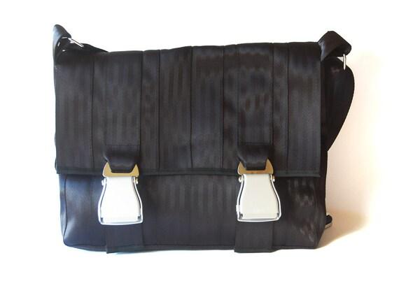SAMPLE SALE - Seatbelt Messenger Bag, Airline Belt closures, Unisex