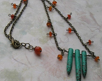 Turquoise Daggers, Carnelian and Antiqued Gun Metal Necklace