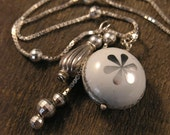 SALE Vintage soda pop bottle cap bead necklace and solid sterling silver multi pendant charm necklace