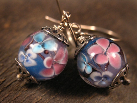 turquoise, blue and pink flower handmade lamp work glass bead and solid sterling silver earrings