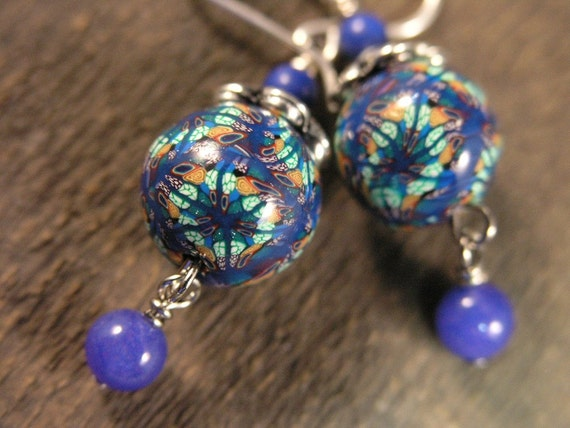 intricate design handmade polymer clay beads with blue stones and sterling silver earrings