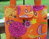 NEW LOWER PRICE and Free Shipping Bohemian Blossoms Handbag in Violets and Pumpkins