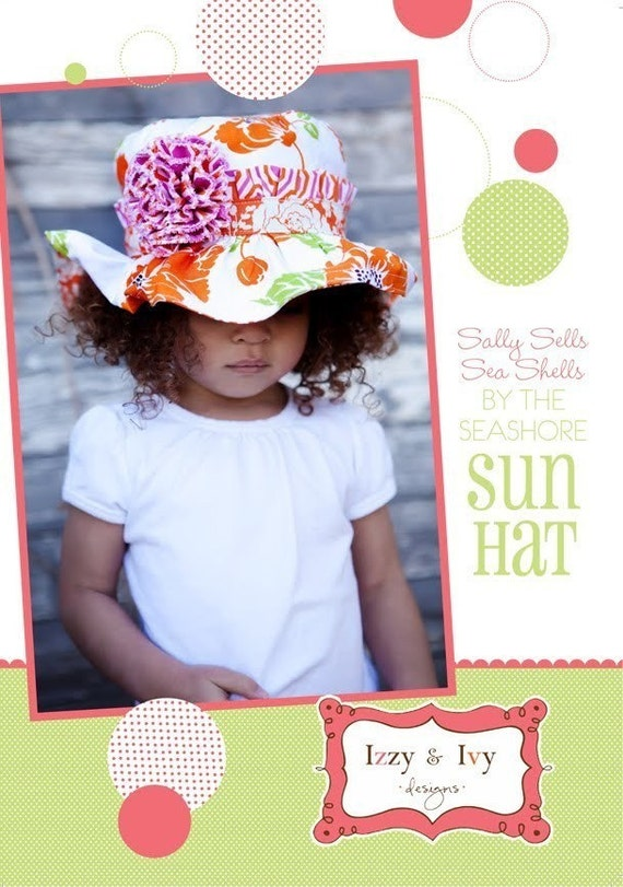 SALE - Sally Sells Sea Shells By the Sea Shore Sun Hat sewing pattern from Izzy and Ivy Designs