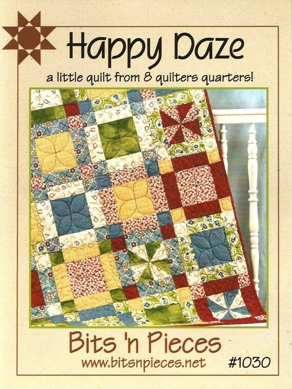 CLEARANCE SALE - Happy Daze fat quarter quilt pattern from Bits 'n Pieces