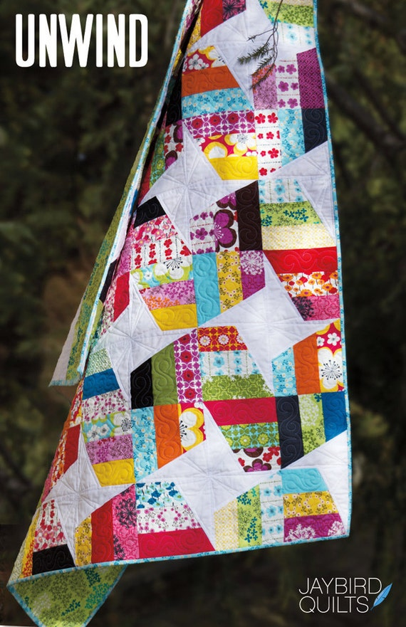Unwind quilt pattern from Jaybird Quilts - baby, youth, lap, twin, queen/king