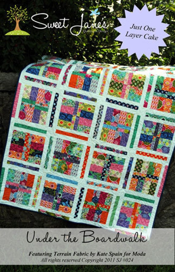 Under the Boardwalk quilt pattern from Sweet Jane's,  layer cake friendly  - Free USA shipping