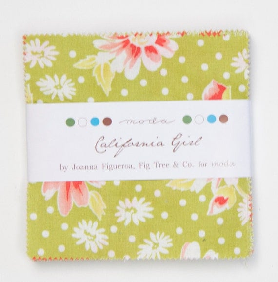 SALE - 2 pack - California Girl Charm Pack by Fig Tree and Co. for Moda Fabrics,  42 5 inch squares
