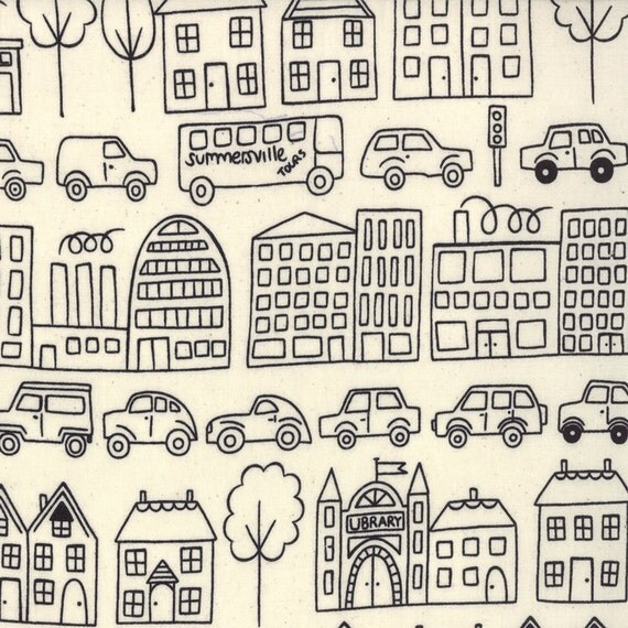 Summersville - Town in Coal: sku 31700-11 cotton quilting fabric by Lucie Summers for Moda Fabrics - 1/2 yard