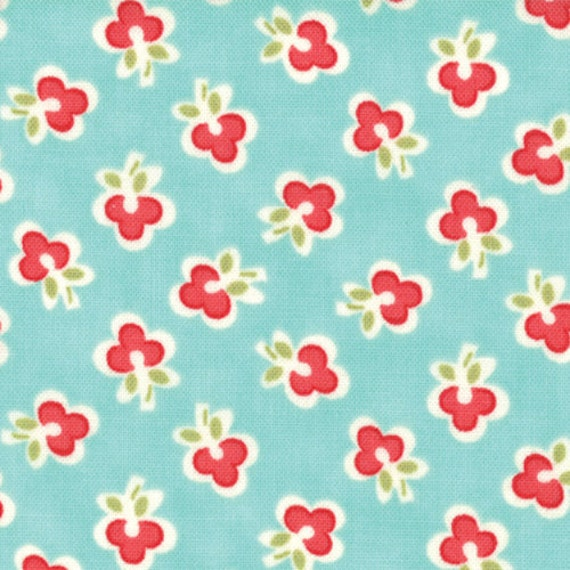 """1 yard and 20"""" piece/remnant - Vintage Modern FLANNEL - Floral Wish in Sky/Aqua sku 55044-11F cotton fabric by Bonnie and Camille for Moda"""