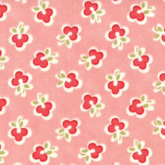 Vintage Modern FLANNEL - Floral Wish in Melon Pink sku 55044-14F FLANNEL cotton fabric by Bonnie and Camille for Moda Fabrics - 1 yard