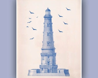Ocean Blue Lighthouse Print,  Vintage  image  print, blue print,  Marine and  Nautical art,  Nautical Collage  Print,