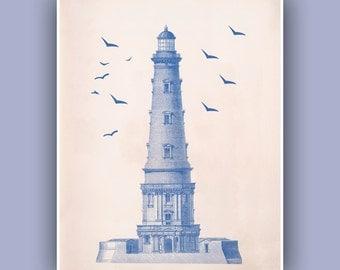 Ocean Blue Lighthouse Print,  Vintage  image  print, blue print,  Marine and  Nautical art,  Nautical Collage  Print,