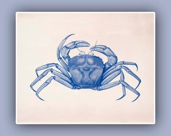Crab Print in blue,  Vintage image, 10x8 landscape print,  Marine Wall Decor, Nautical art, Coastal Living