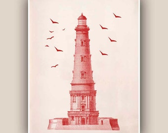 Lighthouse Print in garnet red,  Vintage image  print, Marine and  Nautical art,  Mixed Media  Print, Coastal  decor