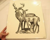 Deer Family Woodcut--Last Available
