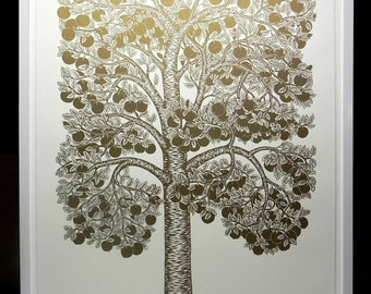 Golden Apple Tree - Woodcut Print, Woodblock Print by Tugboat Printshop