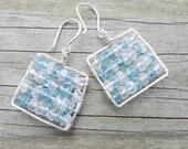Teal & White Mosaic Earrings - Apatite Rainbow Moonstone Squares
