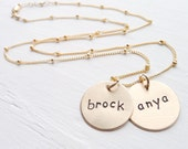 Gold Mom Necklace Personalized - Goldfill Engraved Kids Names Necklaces Mommy Pendant Gold Mother's Jewelry Gold Personalized Name Necklace