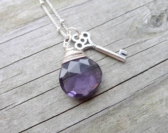 Amethyst and Silver Necklace Key Charm Pendant Heart Briolette Gem Wire Wrap Gifts for Women February Birthstone Birthday
