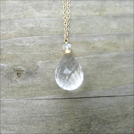 SAMPLE SALE - Crystal Quartz Necklace - Clear Teardrop Briolette Pendant