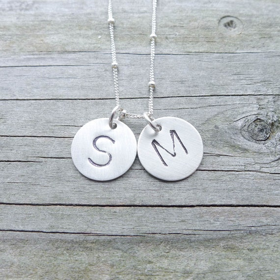 Initial Necklace - Sterling Silver Engraved Discs Personalized Jewelry Handstamped Necklaces Monogram Pendants Personalized Gifts for Her