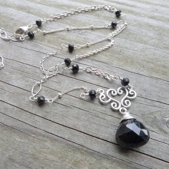 Black Onyx Necklace Eclectic Sterling Silver Chain