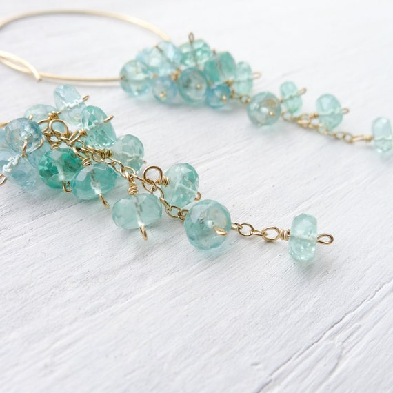 Spiral Apatite Earrings - Teal Gemstones with Gold Filled Hoop