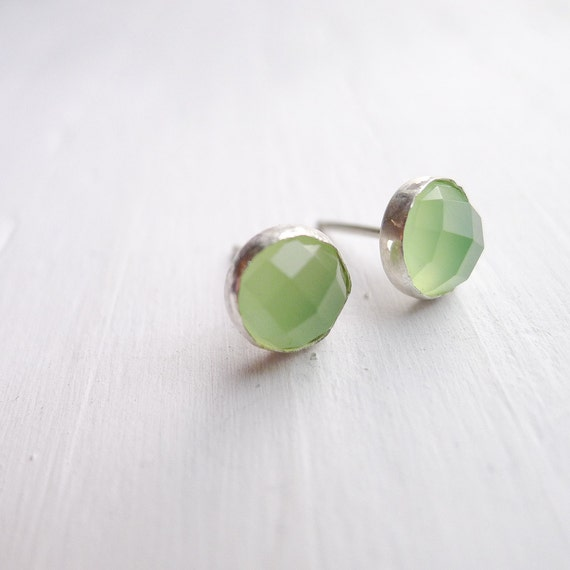 Green Chalcedony Earrings - Lime Sterling Posts