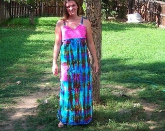 SALE - Pink and blue tie-dye summer dress