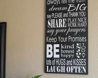 Personalized Family Rules Sign 10x23