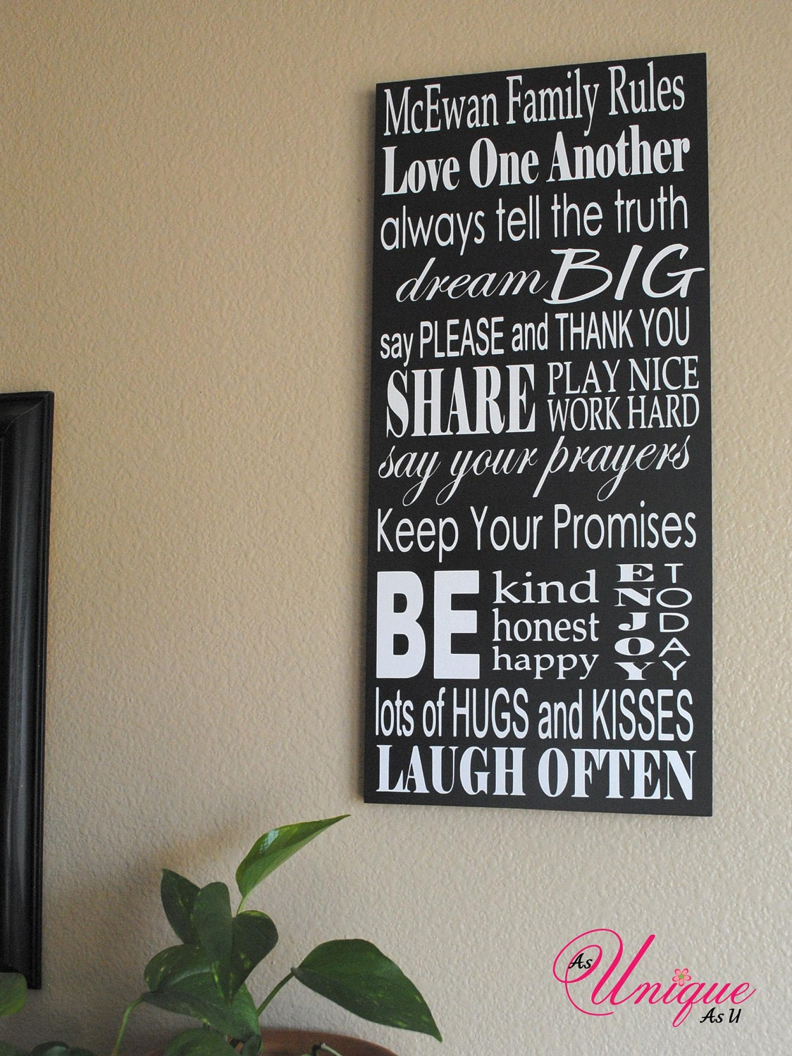 Personalized family rules sign 10x23 for Home decor quotes signs