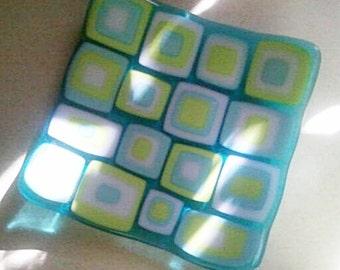 Retro Squared Fused Glass Plate