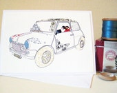 Mini Cooper greetings card