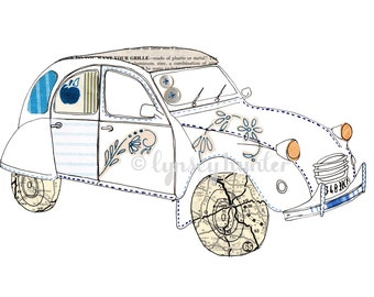 Citroen 2CV - Ink and collage illustration