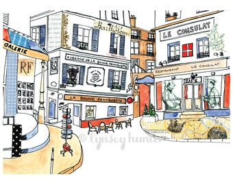 Paris Street Scene - Ink, watercolour and collage illustration