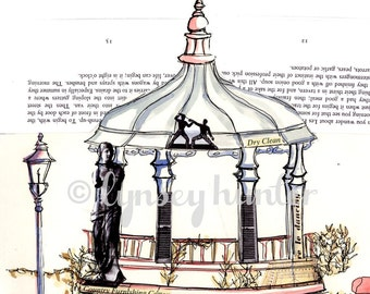 Bandstand - Ink, watercolour and collage illustration