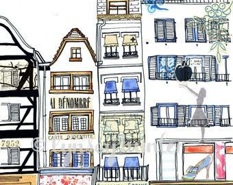 French boutiques - Ink, watercolour and collage illustration