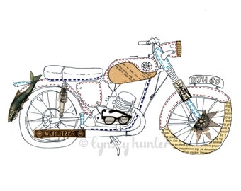 Bantam Motorcycle - Ink and collage illustration