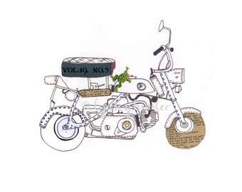 Honda Monkey Bike - Ink and collage illustration