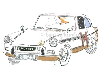 MGB GT car - Ink and collage illustration