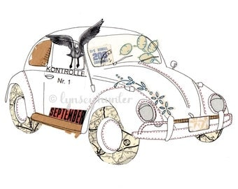 VW Beetle (Bug) car - Ink & collage illustration