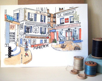 Paris Street Scene Original illustration - Ink, watercolour and collage