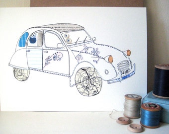 Citroen 2CV Original Illustration - Ink & collage